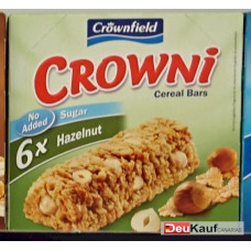 Crownfield - Crowni Barritas de Cereales Hazelnut No added sugar 6x25g Müsliriegel 150g (24-48h Lieferzeit)